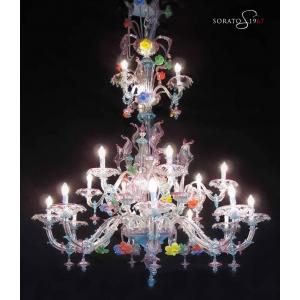 Ca' Rezzonico lampadario Murano multicolor 17 luci