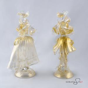 Coppia Goldoniana dama cavaliere Murano oro