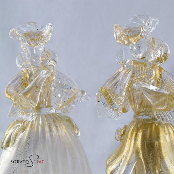 Coppia Goldoniana cristallo oro