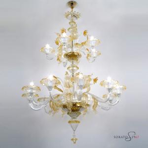 Giorgione  lampadario Murano cristallo ambra 10+5 luci