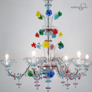 Ca' Rezzonico lampadario Murano cristallo multicolor 6 luci