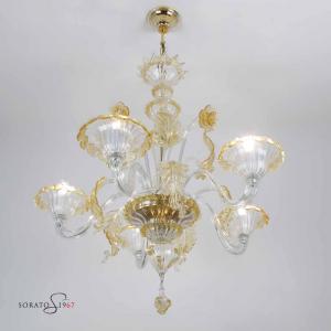 Giorgione  lampadario Murano cristallo ambra 5 luci