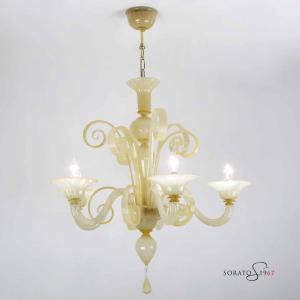 Klimt lampadario Murano ambra sgranato 5 luci