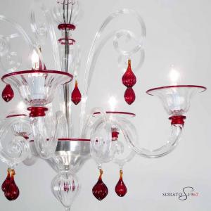 Mantegna lampadario Murano cristallo rosso 5 luci