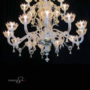 Perugino lampadario Murano 26 luci cristallo oro