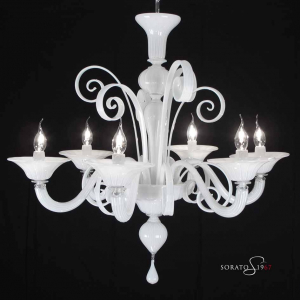 Klimt lampadario Murano bianco 5/6 luci