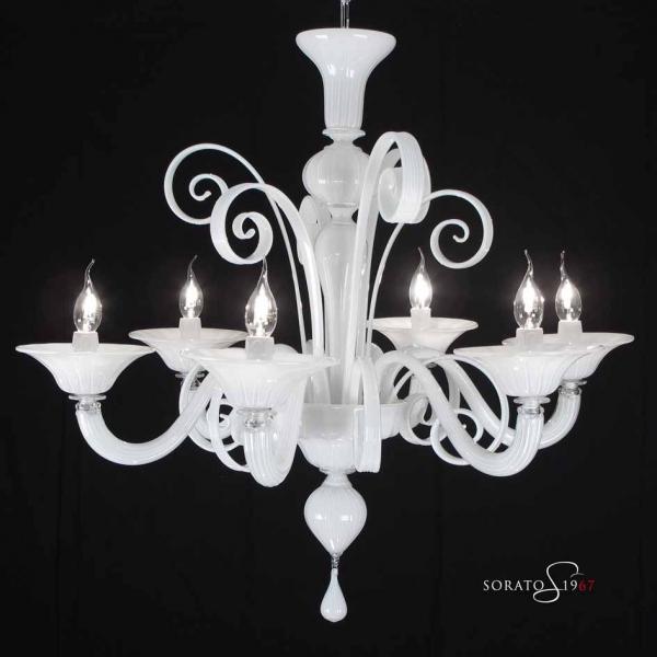 Lampadario Murano Klimt 5 e 6 luci bianco