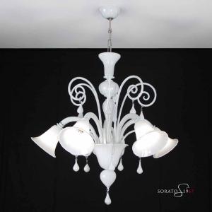 Canova lampadario Murano bianco 5 luci