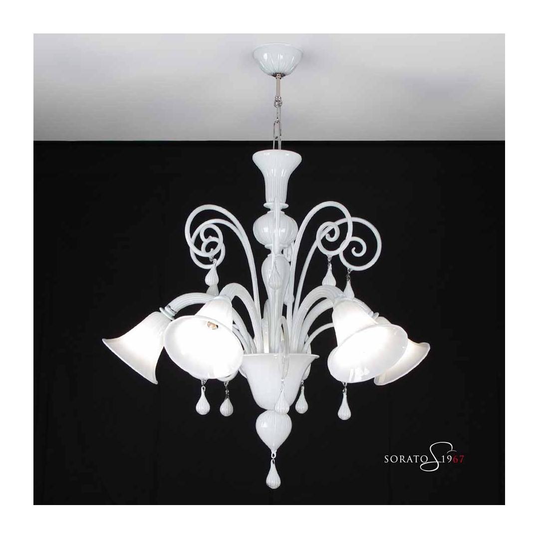 Lampadario Murano Canova 5 luci bianco