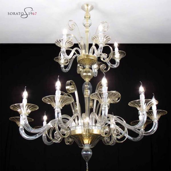 Klimt lampadario Murano cristallo oro 10+5 luci