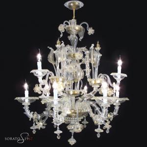 Ca' Rezzonico lampadario Murano cristallo oro 6+3 luci