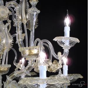Lampadario Murano Ca' Rezzonico cristallo oro 6+3 luci