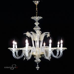 Tintoretto lampadario Murano cristallo oro 8 luci