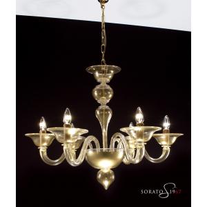 Veronese lampadario Murano tutto oro 6 luci