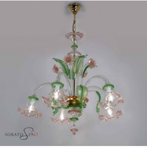 Pisanello lampadario Murano verde rosa oro 5 luci