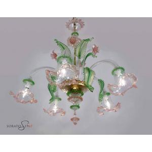 Lampadari vetro Murano Pisanello verde rosa oro