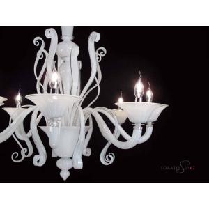 Lampadario vetro Murano Tiziano bianco 8 luci