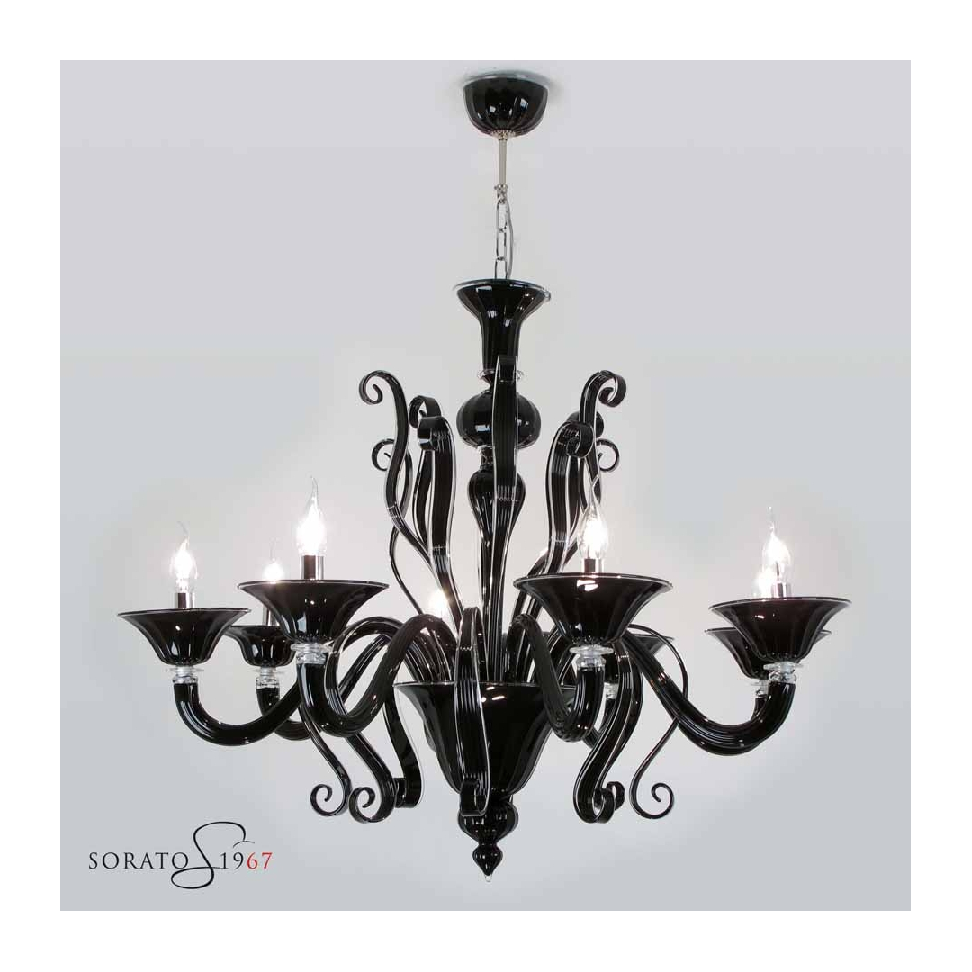 Lampadari vetro Murano Tiziano nero 8 luci