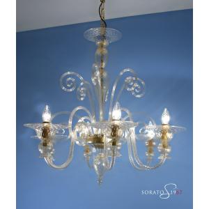 Millais lampadario Murano tutto oro 6 luci
