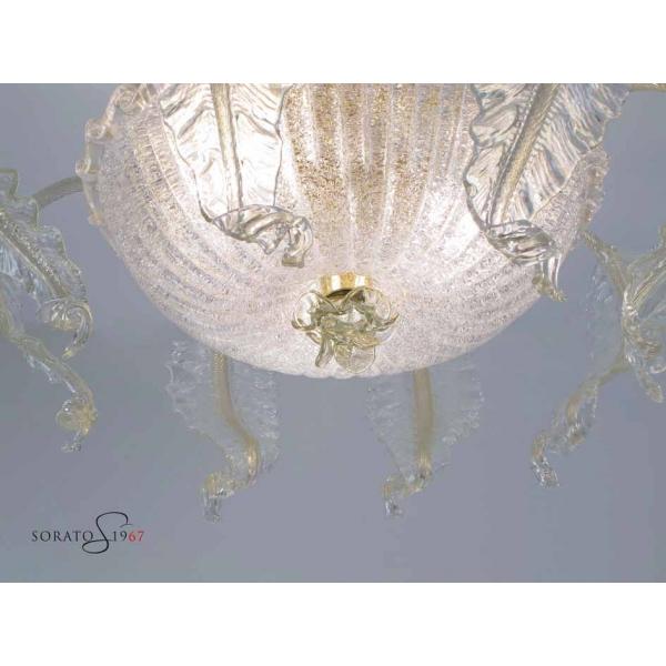Plafoniere vetro Murano Loredan fogliata