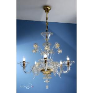 Ghirlandaio lampadario Murano cristallo oro 5 luci