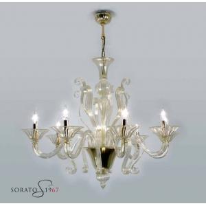 Tiziano lampadario Murano cristallo oro 8 luci
