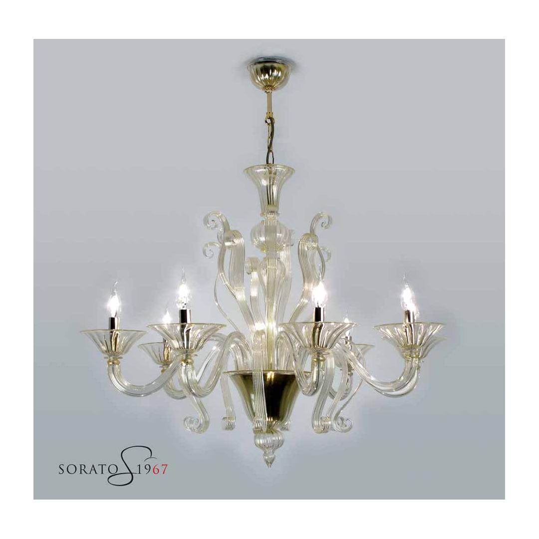 Lampadari vetro Murano Tiziano 8 luci oro