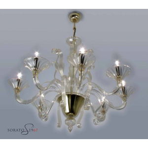 Lampadari vetro Murano Tiziano oro 8 luci