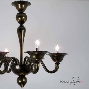 Veronese lampadario nero oro 6 luci