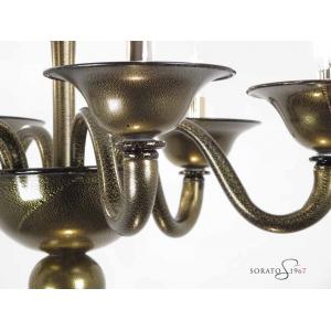 Lampadari vetro Murano Veronese nero oro 6 luci