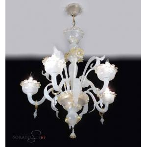 Angelico lampadario Murano seta oro 5 luci