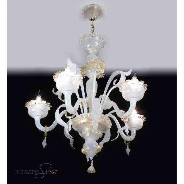 Lampadari vetro Murano Angelico seta oro 5 luci