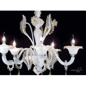 Botticelli lampadario Murano bianco oro 5 luci