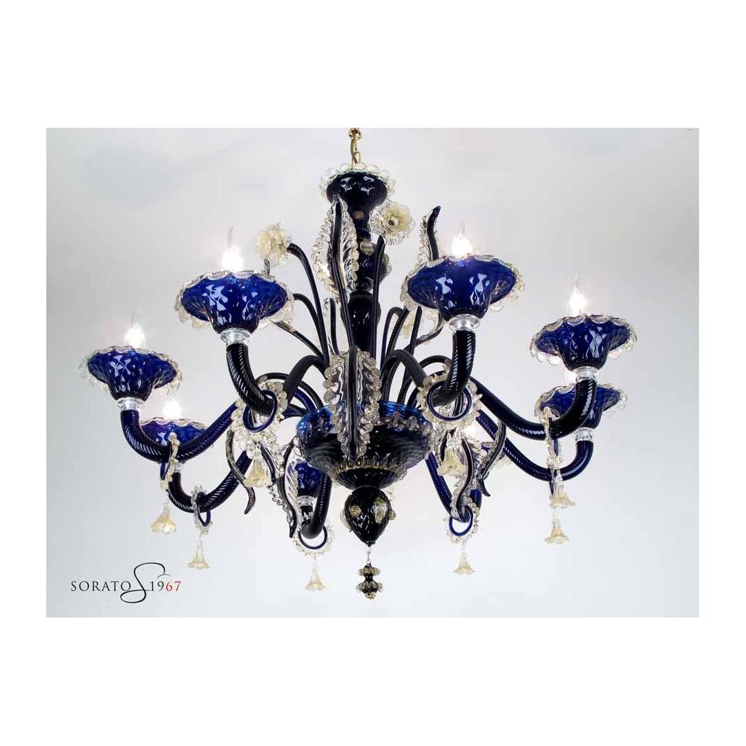 Lampadario Murano Botticelli blu cobalto oro 8 luci