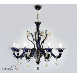 Botticelli lampadario Murano blu cobalto oro 8 luci