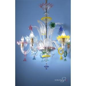 Perugino lampadario Murano cristallo multicolor 5 luci