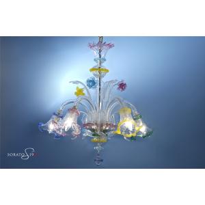 Pisanello lampadario Murano cristallo multicolor 5 luci