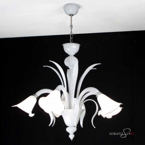 Bellini bianco lampadario Murano 5 luci