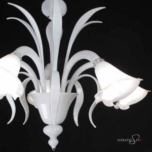 Bellini lampadario Murano bianco 5 luci