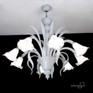 Bellini lampadario Murano bianco 8 luci