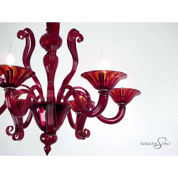 Tiziano lampadario Murano rosso 5 luci