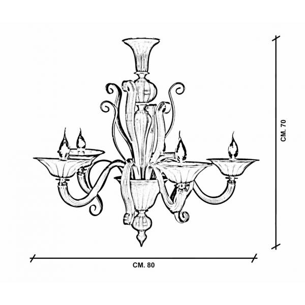 Tiziano lampadario Murano 5 luci dimensioni