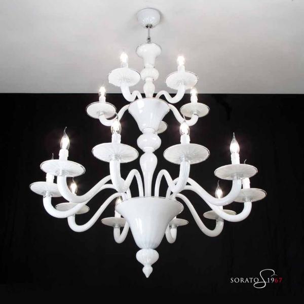 Van EycK lampadario vetro Murano bianco