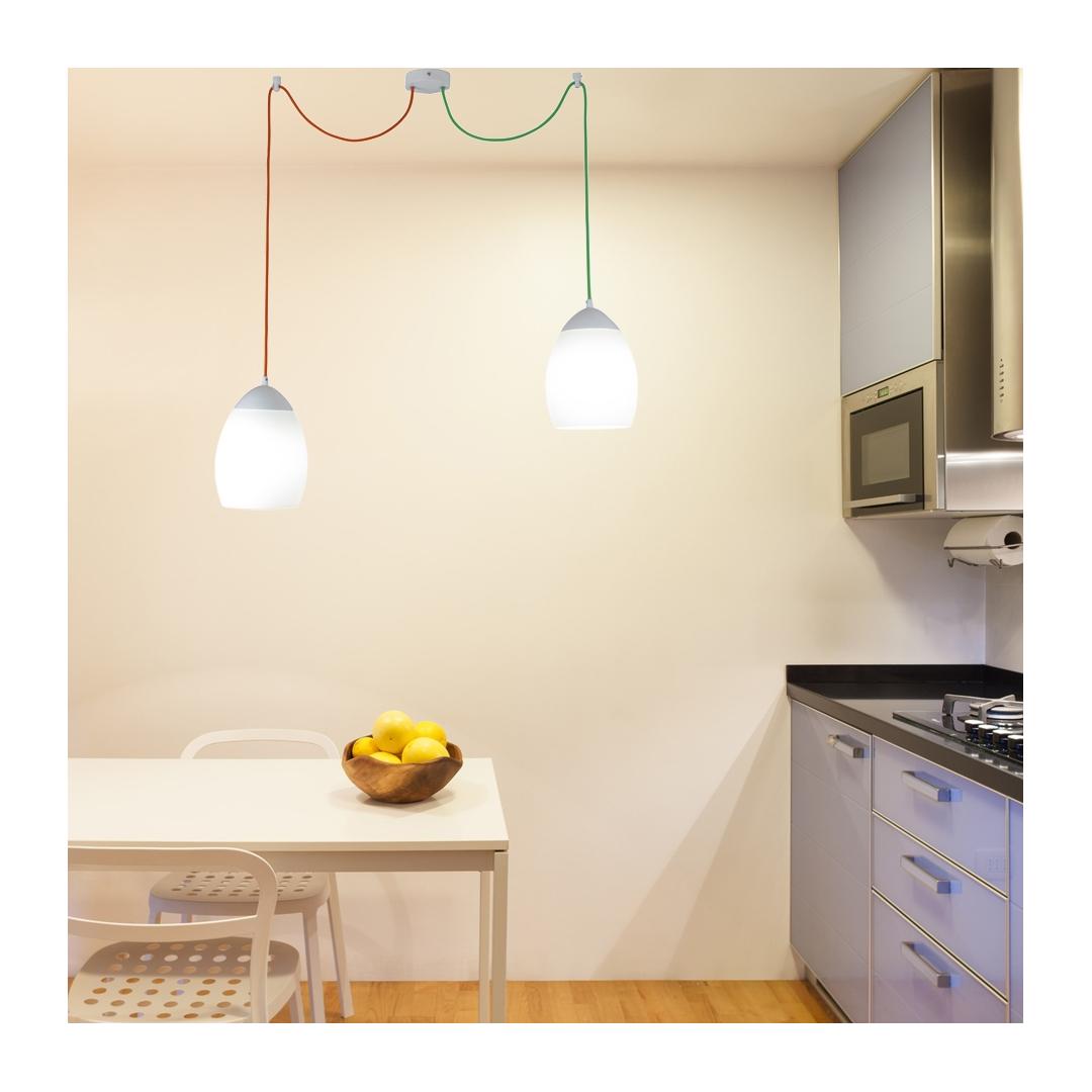 Lampadario Con Punto Luce Decentrato primula sospensione due luci decentrate