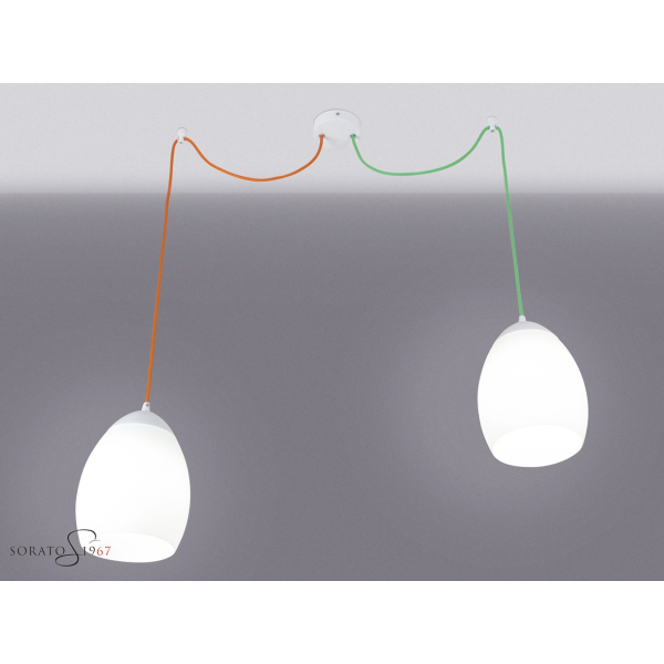 Primula sospensione 2 luci decentrate