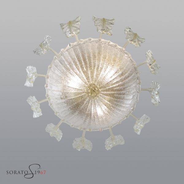 Loredan fogliata 70 plafoniera vetro Murano