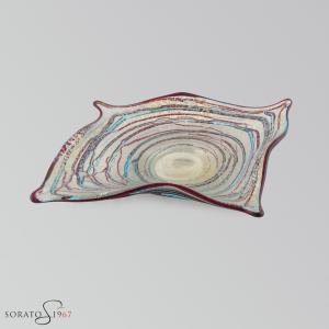 "Centrotavola Murano ""manta"" multicolor argento"