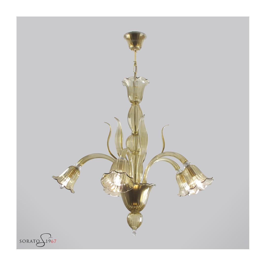 Canaletto lampadario Murano pagliesco 5 luci