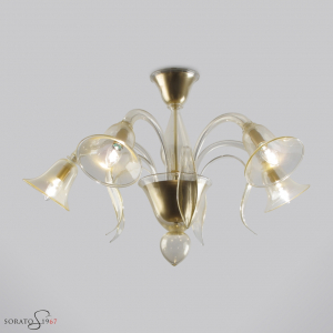 Ingres plafoniera vetro Murano 5 luci