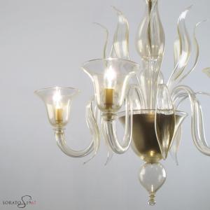 Ingres lampadario vetro Murano 5 luci oro
